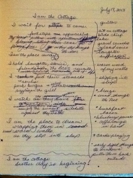 The draft of the poem with revisions and the list of ideas on the side.