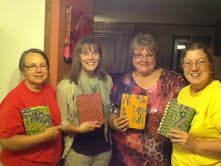 Tam, Ruthie, MH, Tammy with our new notebooks. Thanks my friend!
