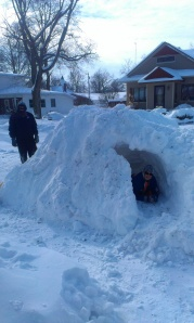 Snow hit heavy. The boys went out four times shoveling the drive, casting the huge mound. On the third day, the kids reminisced about forts they had made in the past. With temps below zero, they shoveled out a tunnel and had fun.