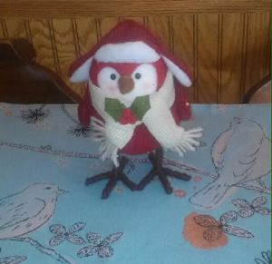 We missed Christmas, so gifts were shared. I found this bird whimsical and comforting, a little fun during the cold. Tam happened to display hers on her centerpiece mat. How appropriate among the birds!